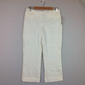Worthington Dress Pants Cropped Women 8 Ivory Flaw